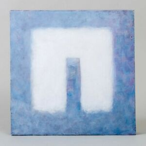 Signed John Moses Abstract Painting Soft Arch White Purple Pastels Acrylic 12quot;