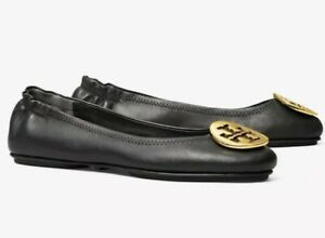 Tory Burch Womens Minnie Travel Ballet Flats With Metal in Black AUTHENTIC $169.00