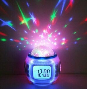 Children Room Starry Sky Alarm Clock with Music Calendar and Thermometer