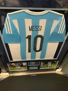 Lionel Messi Signed Autographed Jersey Custom Framed to 32x40 Argentina Icons $1699.99