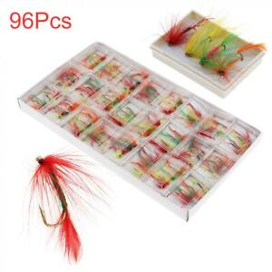 96pcs set Fly Fishing Flies Assortment Dry Bass Trout Fly Fishing Lure Hook Kit