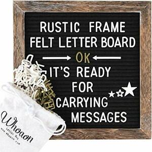 Felt Letter Board 10x10 inch with Rustic Wood Frame. Precut White amp; Gold Letters