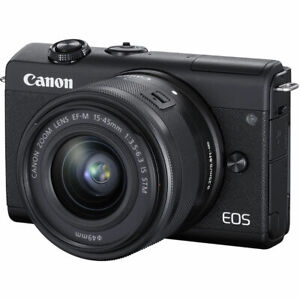 Canon EOS M200 Mirrorless Digital Camera with 15 45mm lens BLACK