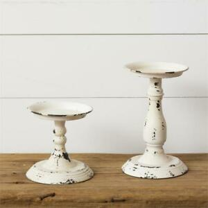 New Shabby Chic Farmhouse SET 2 AGED WHITE CANDLE HOLDER Pedestal Spindle Tray