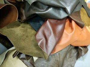 1 lb Bulk Scrap Leather Trimmings Cowhide Remnants Premium Leather