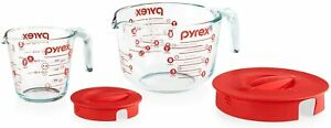 Pyrex Glass Measuring Cup Set with Lids 2Pk 8 Cup 2 Cup Brand New Unopened $19.39