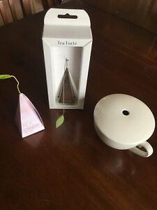 Tea Forte Icon Stainless Loose Leaf Tea Infuser Extra Fine Strainer Pot Lid Cup