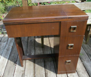 Vtg Singer Sewing Machine Table Cabinet Mahogany Veneer 306 Came out of this $150.00
