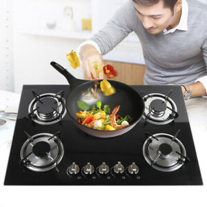 Kitchen 30quot; Built in Gas Hob Cooktop 5 Burner Stove Cooktop Tempered Glass NEW