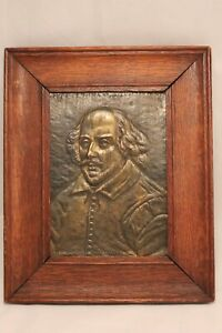 Antique William Shakespeare Gilt Metal in Relief Framed Wall Plaque $225.00