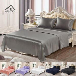 ANMINY 4Pcs Satin Silk Fitted Flat Sheet Pillowcases Twin Queen King Bedding Set