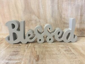 New Shabby Chic Farmhouse GRAY BLESSED WORD SIGN Table Block Shelf Sitter 9quot;