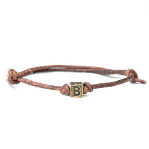Bronze inital leather bracelet for men