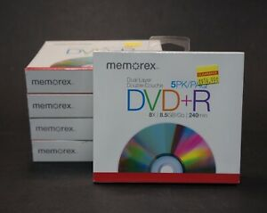 DVDR 5 Pack Memorex 4.7GB 16X 120 Min With individual case Lot of 5 Packages
