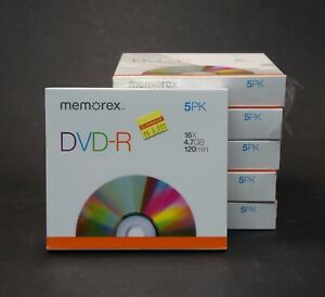 DVD R 5 Pack Memorex 4.7GB 16X 120 Min With individual case Lot of 5 Packages