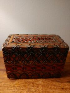 Vintage Wood Playing Card Box With Cards $20.00