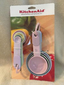 KitchenAid Multi Colored Pastel Measuring Cup and Spoon Set 9 Piece Brand New