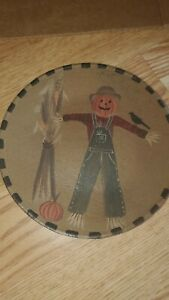 SCARECROW MINI PLATE DECOR DISPLAY DECORATION FALL FARMHOUSE PRIMITIVE