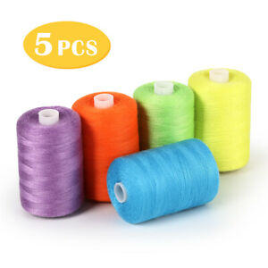 Sewing Thread Sets 5 Color Spools Thread Mixed Cotton 1000 Yards Sew Kit Thread $8.41