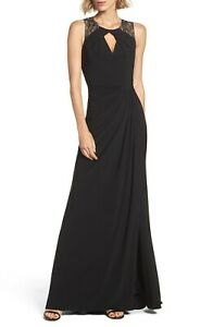 Adrianna Papell Lace Shoulder Jersey Gown Black Size 4 Petite $49.99