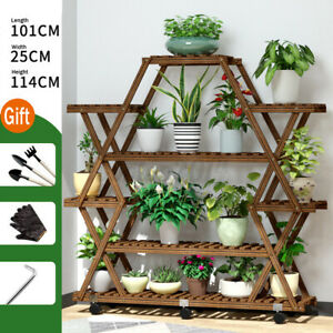 US Multi Tier Wooden Flower Plant Display Stand Wood Storage Rack Plant Stands $59.99