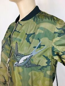 Rock amp; Republic Women#x27;s Camouflage Satin Bomber Jacket Embroidered Sparrows