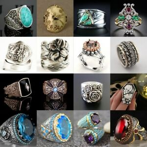 Vintage Turkish Handmade Ring 925Silver Cocktail Turquoise Women Jewelry Wedding