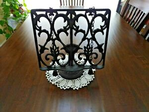 VTG CAST IRON Cookbook Stand 11quot; high w original page holders end caps PREOWN $19.99