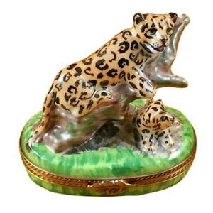 Rochard quot;Panther with Babyquot; Limoges Box