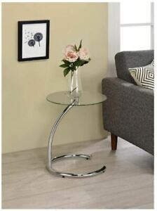 NEW Kings Brand Furniture Chrome with Glass Modern Accent Side End Table