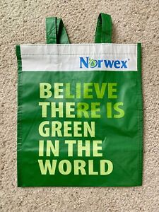 Norwex Reusable Grocery Shopping Bag w BacLock Green 12.6quot;x8.3quot;x14quot; NEW