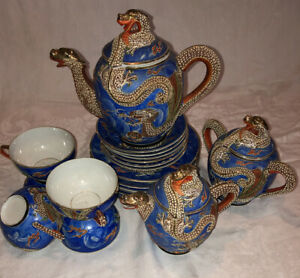 Japanese Moriage Satsuma Dragonware Blue Orange 22 pc Tea Set w Lithopane Geisha