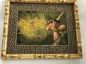 TARZAN LITHOGRAPH DISNEY 1999 COLLECTION Gold Faux Bamboo Wood Frame EXCELLENT $47.00