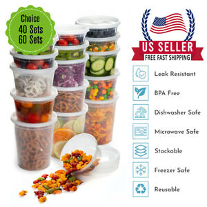 816 32oz Heavy Duty Deli Plastic Food Storage Containers with Airtight Lids $18.99