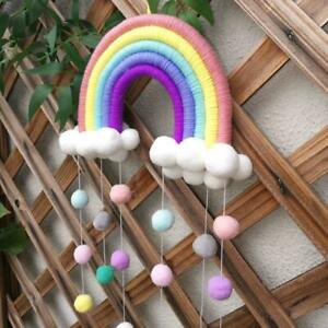 Rainbow Tapestry Clouds Macrame Woven Wall Hanging Photo Prop kids Room Decor $9.89