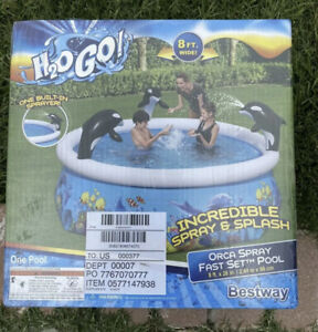 H2OGO Orca Spray Fast Set Swimming Pool Kids Inflatable Family Outdoor 8#x27; X 26quot;