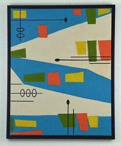 RETRO 50s ATOMIC MID CENTURY MODERN STYLE ABSTRACT PAINTING FRAMED SIGNED $75.00