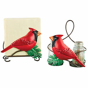 Collections Etc Hand Painted Metal Cardinal Napkin Holder and Shakers