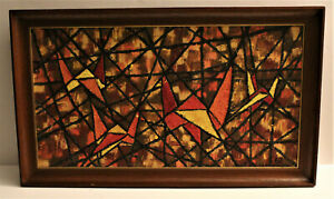 Vintage 60s Abstract Geometric Oil Painting Mid Century Modern Art Wall Hanging $349.99