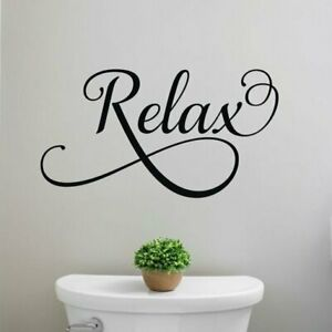 Relax Bathroom Quote Vinyl Wall Decal Sticker Words Lettering Art Decor
