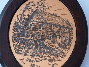 Vintage Oval Copper Etching Water Wheel Grist Mill Rustic Wood Framed $12.50