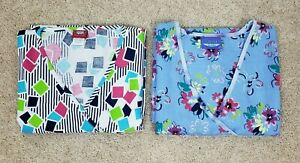 Medical Scrub Women#x27;s Tops Shirt Lots Of 2 Multicolor Large L