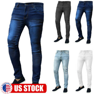 Mens Slim Fit Solid Jeans Super Stretch Denim Pants Skinny Casual Designer Jeans
