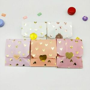 100pcs Pink Paper Bags With Gold Foil Hearts Gift Food Birthday Candy Packaging $28.64