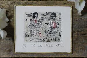 The Two Fridas Kahlo Etching Lg Print Handmade Framed Etching by Abelar Mexican $36.00