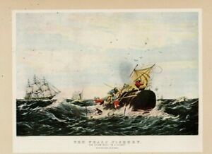 Currier amp; Ives quot;THE WHALE FISHERYquot; Lithograph antique $6.99
