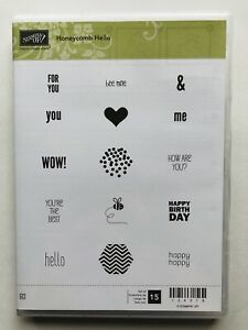 STAMPIN UP HONEYCOMB HELLO STAMPS SET OF 15 NEW STAMPS HAPPY HELLO FOR YOU