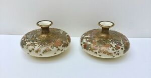 Pair of Exceptional Meiji Japanese Satsuma Pottery Vases Flowers Butterflies