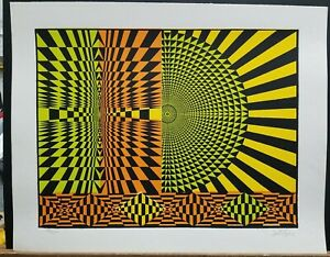 Paul Rios Vintage Lithograph Geometric Abstract 1970#x27;s #20 200 16quot;×20quot; $35.00