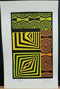 Paul Rios Vintage Lithograph Geometric Abstract 1970#x27;s #69 200 10quot;×6.5quot; $20.00
